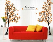 Double tree vinyl wall decal