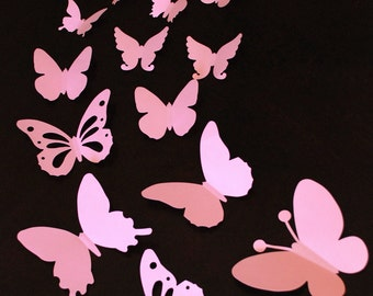 Baby nursery 3D paper butterfly sticker, wall sticker, room decoration, wedding decoration in pink color 20 pieces