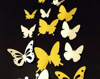 20 pieces 3D paper butterfly sticker, wall sticker, room decoration, baby nursery, wedding decoration in shaded yellow color