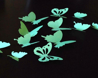 3D paper butterfly sticker, wall sticker, room decoration, baby nursery, wedding decoration in medium green color 20 pieces