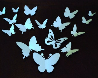 20 pieces 3D paper butterfly sticker, wall sticker, room decoration, baby nursery, wedding decoration in light blue color