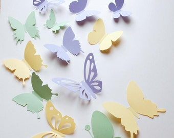3D paper butterfly sticker, wall sticker, room decoration, baby nursery, wedding decoration in pale yellow green and lavender 20 pieces