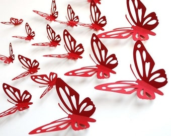 3D paper butterfly with cut outs, wall sticker, room decoration, baby nursery, wedding decoration in burgundy color 20 pieces