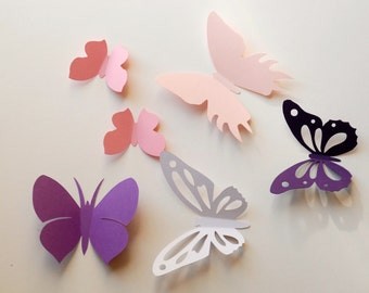 3D paper butterfly wall sticker, room decoration, baby nursery, wedding decoration in white, pinks, and purples 20 pieces