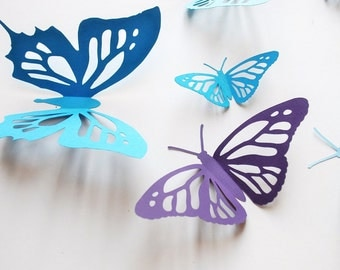 3D paper butterfly, monarch butterfly, new cut, wall sticker, room decoration, baby nursery, wedding decoration in blues and purple 20 pcs
