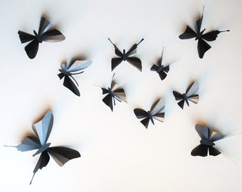 3D paper butterfly sticker, wall sticker, baby nursery, room decoration, wedding decoration in black, 10 pieces