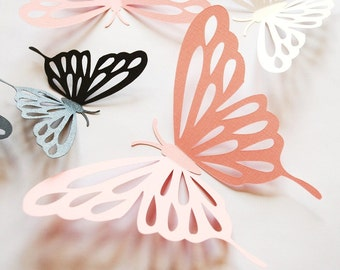 Default color sale - 3D paper butterfly, wall sticker, room decor, baby nursery, in shimmering white, shimmering black, and pinks 20 pieces