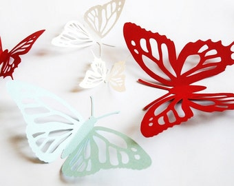 3D paper butterfly, monarch butterfly, wall sticker, room decor, baby nursery, wedding decoration in white, burgundy, and light cyan 20 pcs