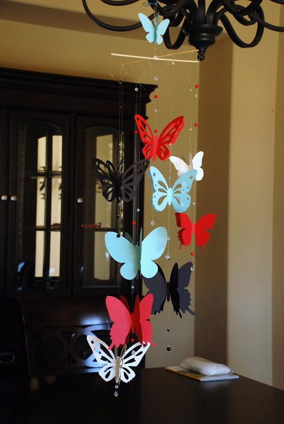 Custom order 3D paper butterfly mobile for baby nursery blue, red, black and cream color