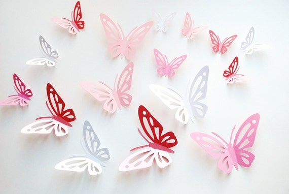 3D paper butterfly with cut outs, wall sticker, room decoration, baby nursery, wedding decoration in white and pinks 20 pcs