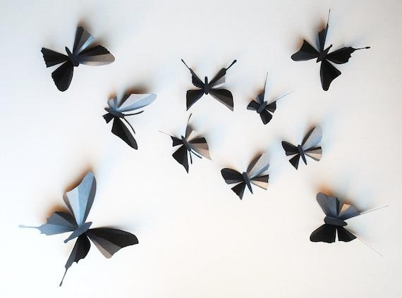 decoration murale papillon 3d. Black Bedroom Furniture Sets. Home Design Ideas