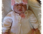 baby girl sweater and hat