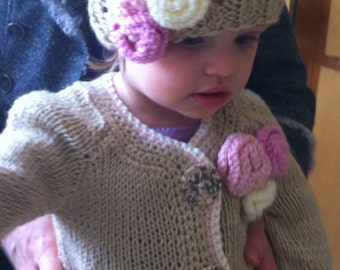 knitted hat,toddler hat,knitted flowers