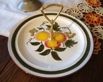 Stangl Plate with Handle Apple Delight Serving Dish