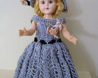 Vintage Doll with Crocheted Dress and Hat