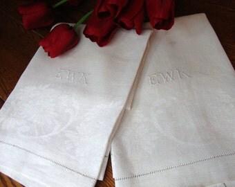 Damask Towels Pair of White Linen Antique Guest Towels EWK Monogram