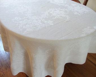 "Damask Tablecloth White  Irises 72"" x 70"" Vintage Floral Design Retro Table Linens"