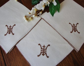 Linen Napkins Set of Three VIntage