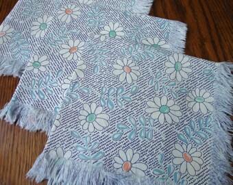 Blue Floral Napkins Set of Three VIntage
