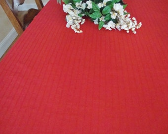 Red Kitchen Tablecloth Vintage Country Table Linens Farmhouse Cottage Retro