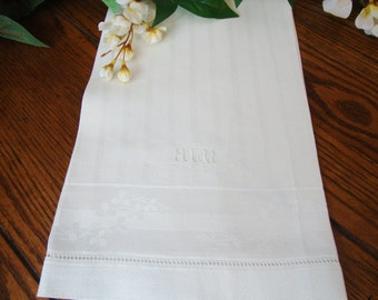 White Damask Towel Monogram MLW Antique Linens Guest Towels