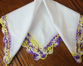 White Hankie Hand Crocheted Lace Trim Purple and Yellow VIntage