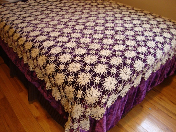 RESERVED FOR CHRIS French Lace Bed Cover Hand Crocheted Antique