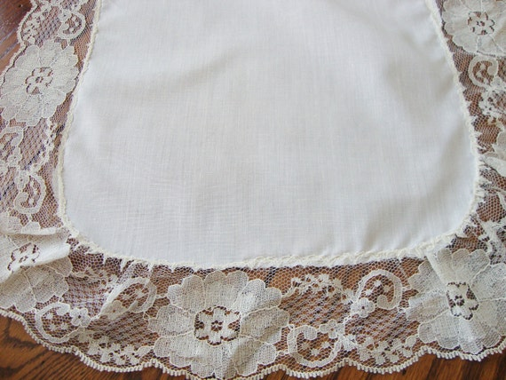 white dresser scarf lace trim vintage table runner shabby chic