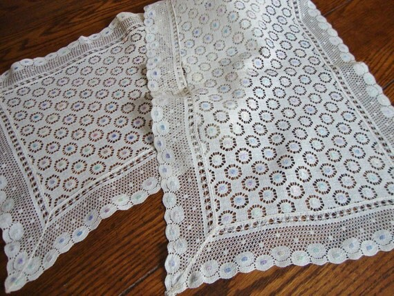 Reserved Lace Dresser Scarf White with Pastels