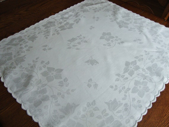 Damask Table Cover White Vintage