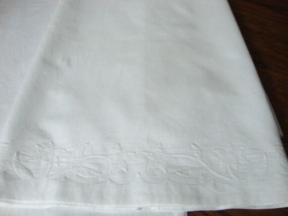 White Pillowcases Set of Two Vintage