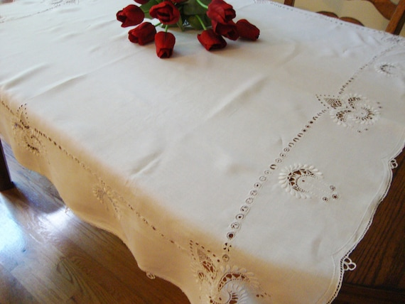 White Linen Tablecloth Gorgeous Hand Embroidery and Cutwork Vintage