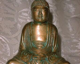 Serene Balinese Buddha Statue Hand Made in Faux Bronze