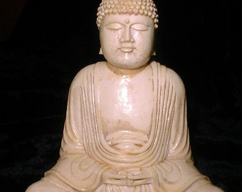 Small Serene Buddha Statue in Faux Ivory