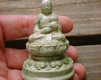 Japanese JIZO Buddha Protector of Children in Mossy Stone OR Faux Ivory