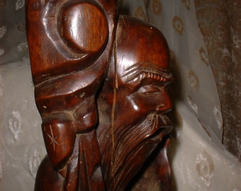 Old Hardwood Carving of Fu or Fukurokuju One of the Chinese Lucky Gods