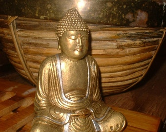 Small Serene Buddha Statue in Burnished Gold with Silver Embellishments