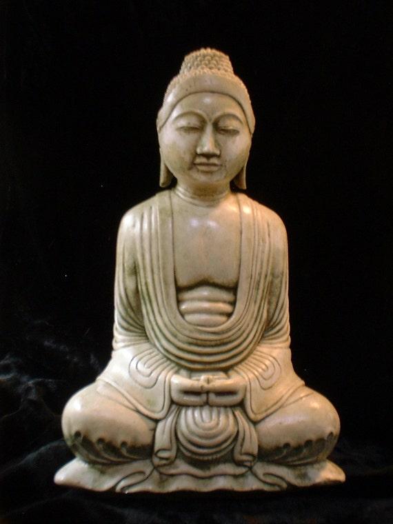 Serene 8 inch Balinese Buddha in Mossy Stone Finish
