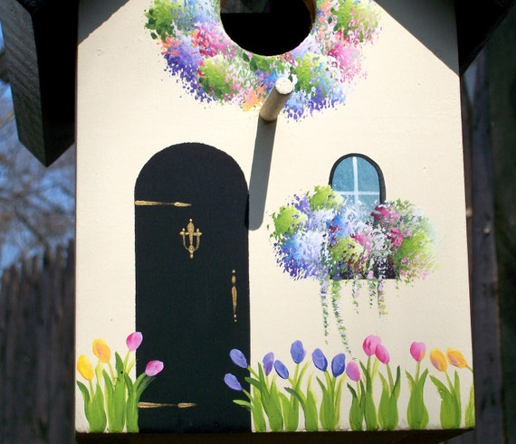 Spring Cottage with Tulips, Outdoor Birdhouse, Black Roof with Light Cream Sides