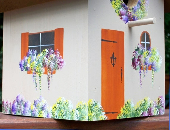 Handpainted, Outdoor Rustic Brown Birdhouse