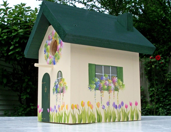 Green Outdoor Birdhouse with Hand Painted Tulips