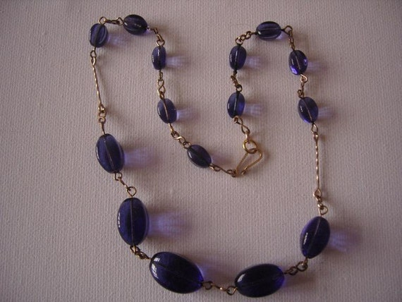 Vintage Violet Glass Necklace-REDUCED PRICE