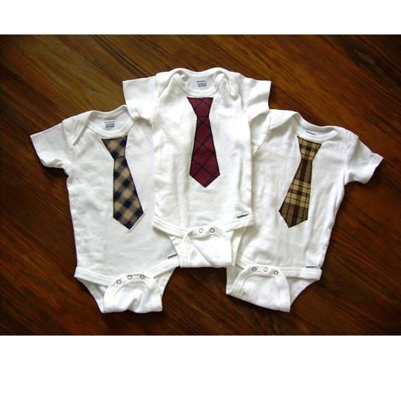 Country Baby Boy Tie Onesie / Bodysuit - 3-9 mo - Brown Plaid