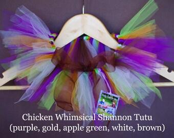 Whimsical Shannon Tutu- purple, gold, apple green, white, brown