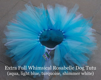 Extra Full Whimsical Rosabelle Dog Tutu- aqua, light blue, turquoise, shimmer white
