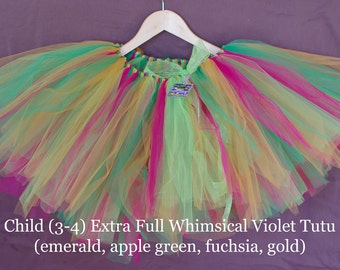 Extra Full Whimsical Violet Tutu- emerald, apple green, fuchsia, gold