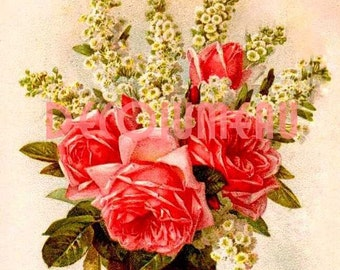 Antique Digital Image of a Bouquet of Flowers