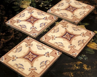 Antique Victorian Tiles Set of 4