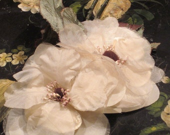 Vintage 1950's Millinery Double Flowers