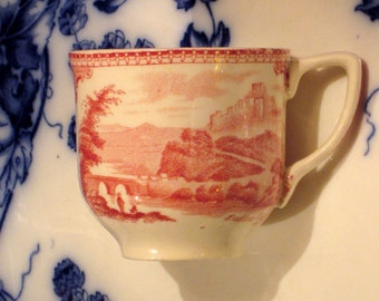 Antique Red Transferware Castles Demitasse Teacup